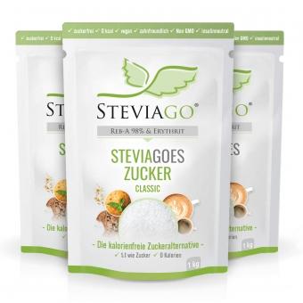 STEVIAGOES Zucker - Classic 1kg - Erythrit und Stevia Sparbundle - STEVIAGOES Zucker - Classic - 3 x 1kg