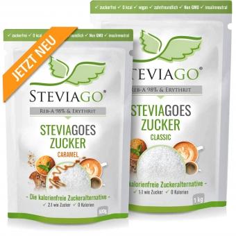 2er-Bundle STEVIAGOES Zucker - 1x Classic 1kg & 1x Caramel (Karamellaroma) 500g - Erythrit und Stevia (mit Karamellaroma)
